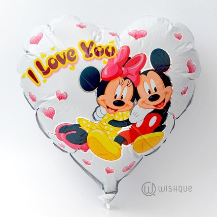 Mickey & Minnie  I Love You Heart Shaped Foil Balloon