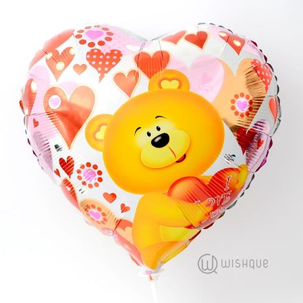 Love Teddy Heart Shaped Foil Balloon