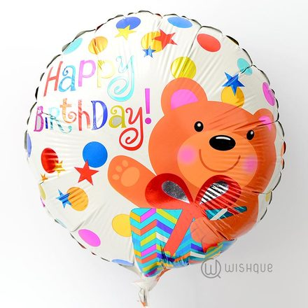 Happy Birthday Teddy Foil Balloon