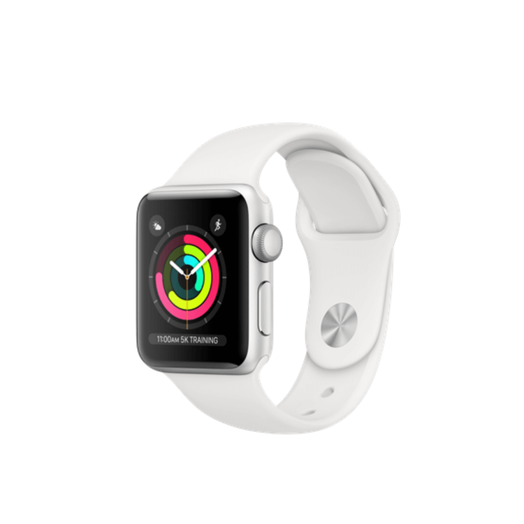 Apple Watch Series 3 Silver Aluminium 38mm Case with White Sport Band(GPS)
