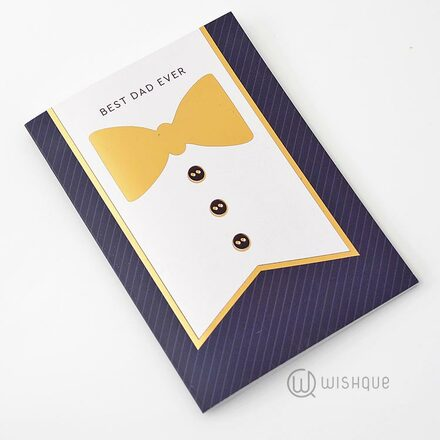 He's The Best Dad Gold Foil-Print Greeting Card