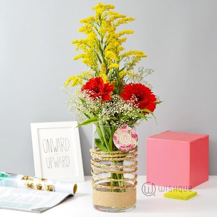 Pretty Spring Red Gerbera Vase Arrangement