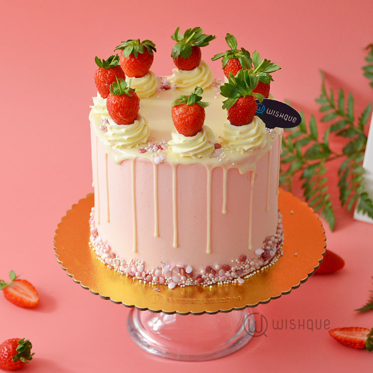 Everybody Loves The Strawberry Drip Ribbon Cake