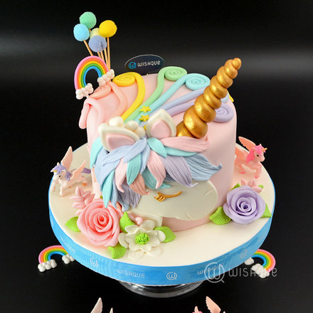 Unicorn Island 3D Ribbon Cake
