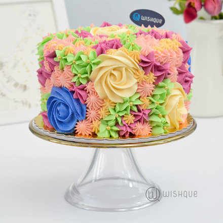 Sweet Blooms Buttercream Ribbon Cake