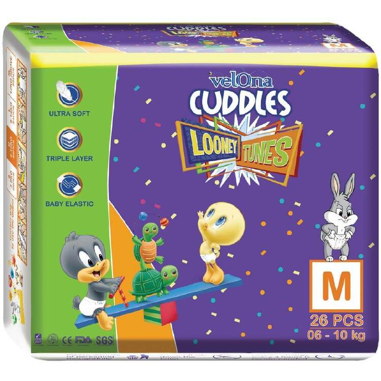 Velona Cuddles Looney Tunes Baby Diapers In Three Sizes