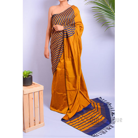 Handloom Saree - Gold And Blue Stripes