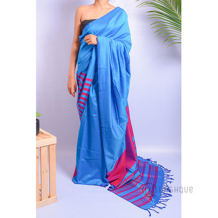 Handloom Saree - Pink And Light Blue Stripes