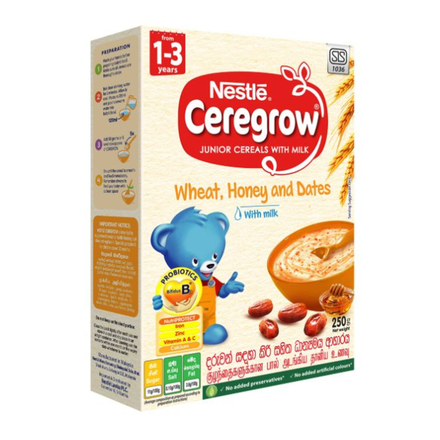 Nestle CEREGROW Junior Cereal Wheat, Honey & Dates with milk, 250g