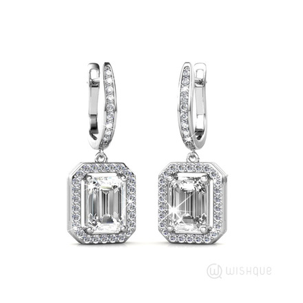 Angelic Rectangular Earrings With Swarovski Crystals White-Gold Plated