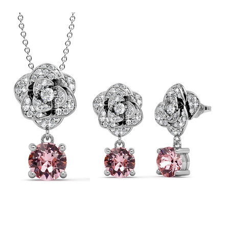 Sparkling Rose Pendant And Earring Set With Swarovski Crystals White-Gold Plated