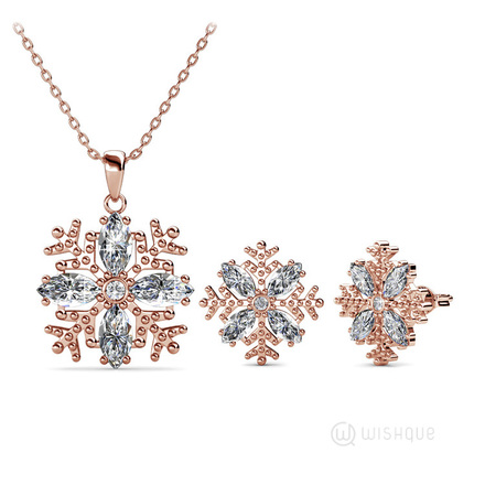 Crystal Flakes Pendant And Earrings Set With Swarovski Crystals Rose Gold Plated
