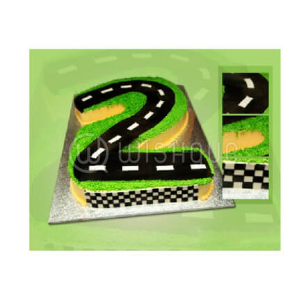2nd Birthday Race Track Shaped Cake