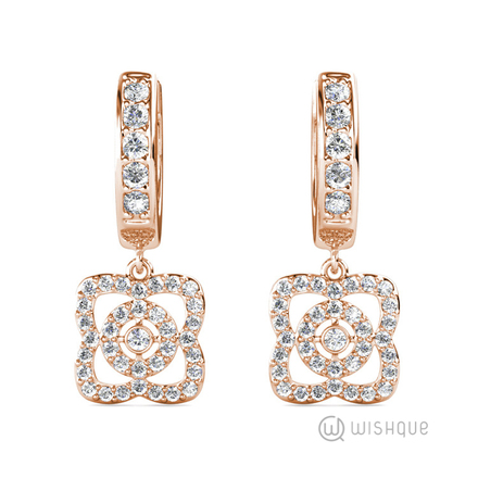 Floral Hoop Earrings With Swarovski Crystals Rose-Gold Plated