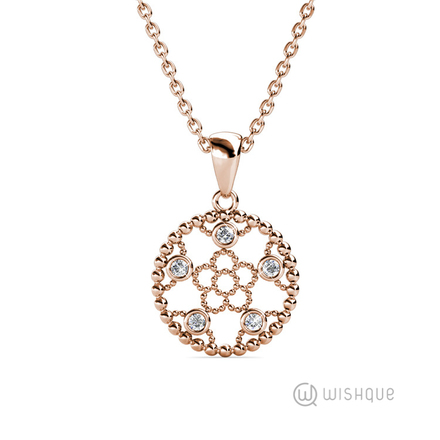Sparkling Daisy Pendant With Swarovski Crystals Rose-Gold Plated