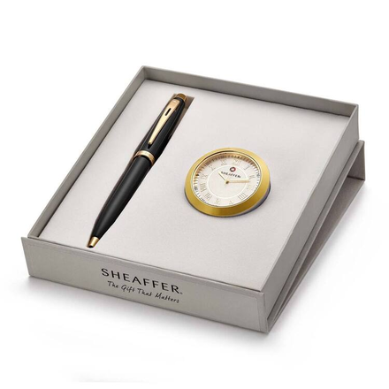 Sheaffer Gold Tone Trim  Ballpoint Pen And Gold-Chrome Table Clock Gift Set