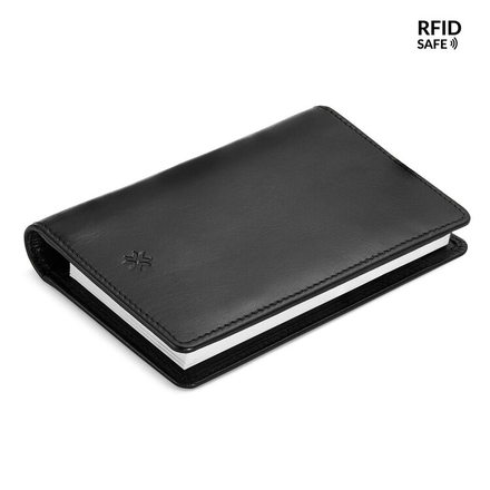 Pennline RFID Safe All-In-One Leather Wallet With Memo Pad And Mini Pen (Black)