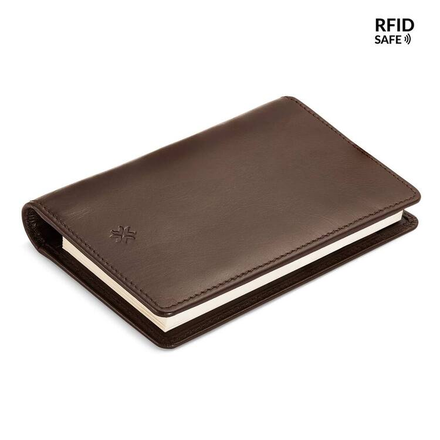 Pennline RFID Safe All-In-One Leather Wallet With Memo Pad And Mini Pen (Brown)