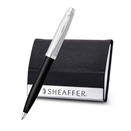 Sheaffer Brushed Chrome Nickel Plated Trim BallpointPen And Buisness Card Holder