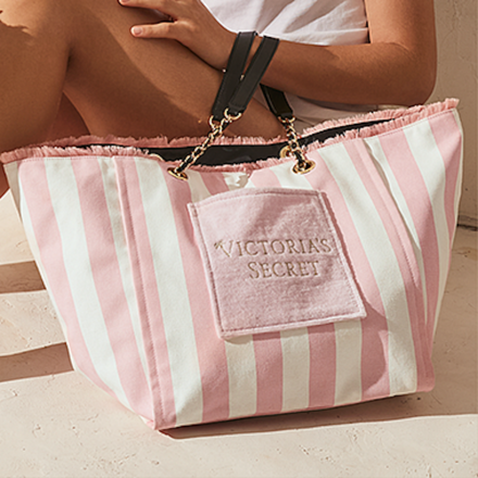 Victoria's Secret Logo Stripe Tote