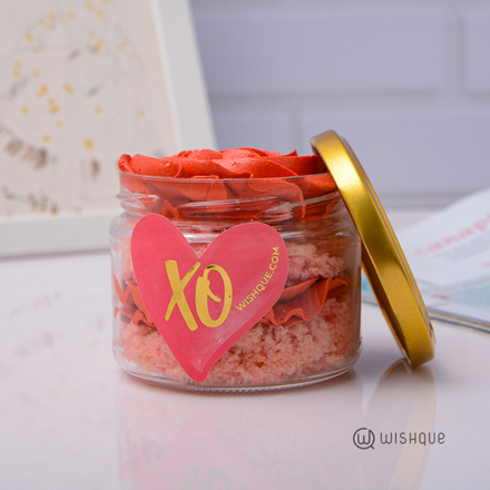 Red Rosette Ribbon Cake Jar
