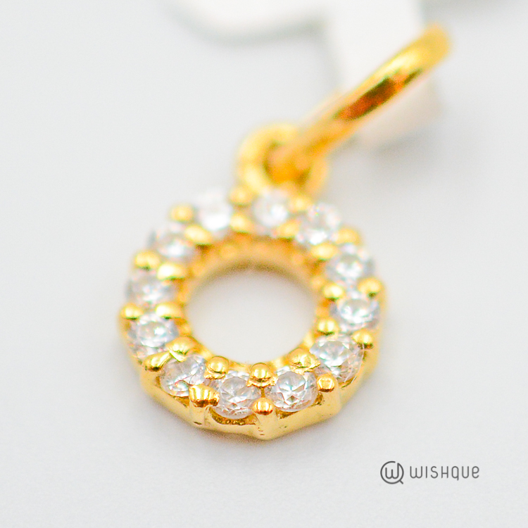 22kt Gold Frame Pendant With Zirconia Stones