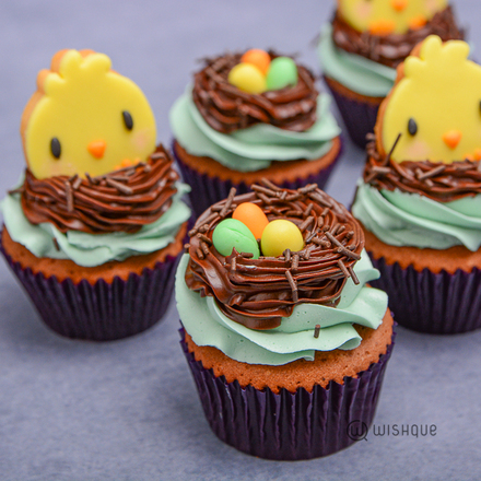 Fun Easter Chocolate Cupcakes with Butter Cookies
