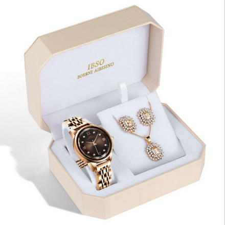 IBSO Ladies Quartz Rose Gold Crystal Dial Watch And Jewelry Gift Set