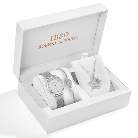 IBSO Ladies Quartz Silver Star Watch And Jewelry Gift Set