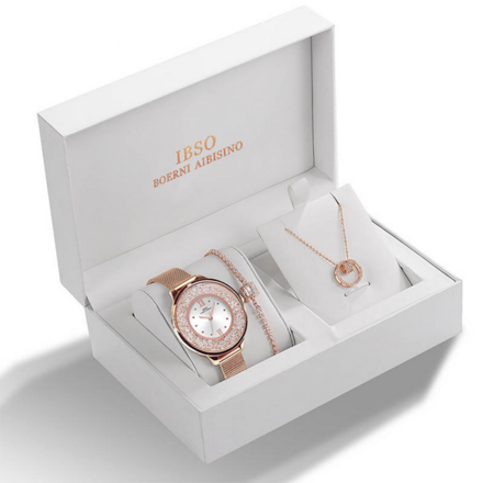 IBSO Ladies Quartz Rose Gold Stones Watch And Jewelry Gift Set