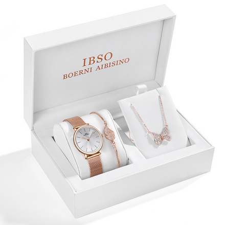 IBSO Ladies Quartz Rose Gold Sparkling Butterfly Watch And Jewelry Gift Set