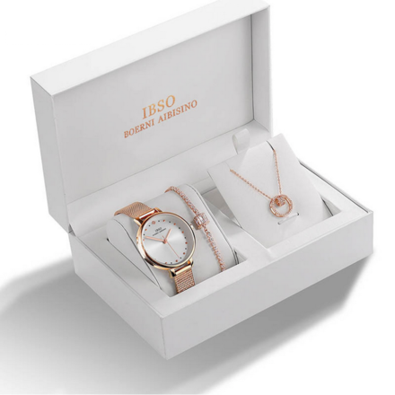 IBSO Ladies Quartz Rose Gold Watch And Jewelry Gift Set
