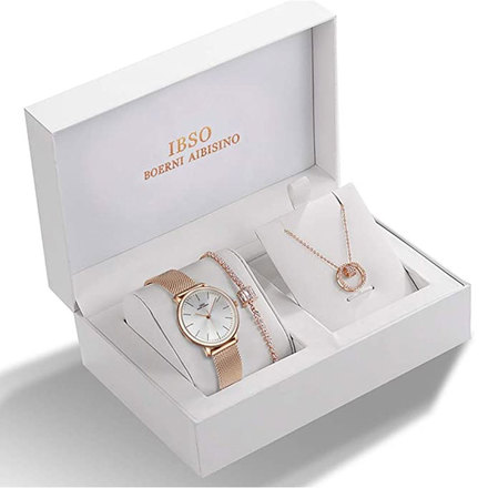 IBSO Ladies Quartz Rose Gold Round Watch And Jewelry Gift Set