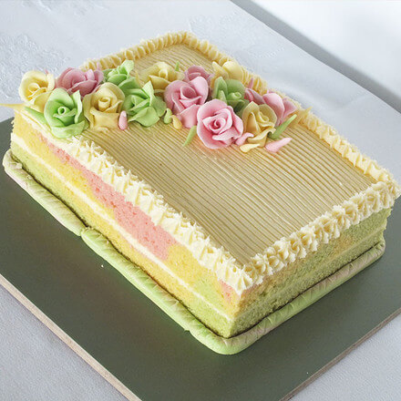 Ribbon Cake With Icing