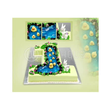 1st Birthday Shaped Cake with Duck Pond