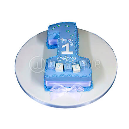 "Number 1 First Birthday Cake ""Blue"""