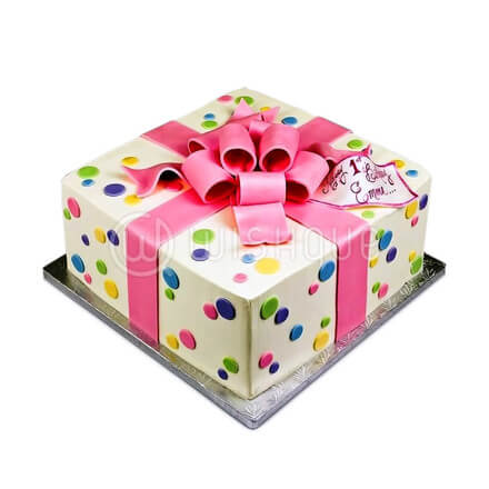 Gift Box With Pink Ribbon Cake