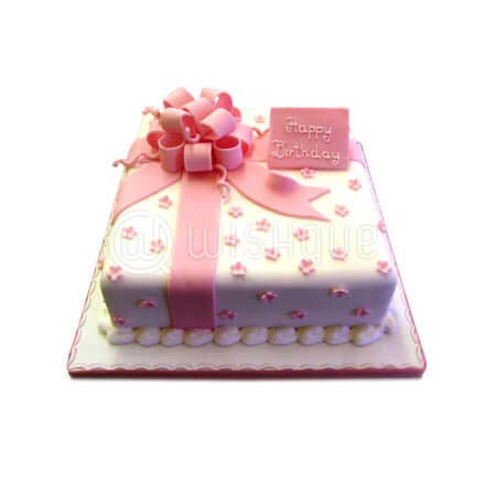 Happy Birthday Cake With Pink Ribbon