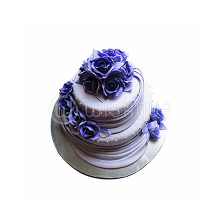 Bridal Shower Cake With Blue Flowers